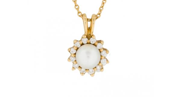 64eac2cf6 60% off Tiffany & Co. 18K Pearl and Diamond Necklace - Online ...